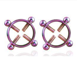Pezón cuerpo moda online-1 par de tornillo de acero inoxidable anillo de pezón falso - Fashion Piercing Body Jewelry Mujeres Body Piercing Pecho de uñas Anillos de tornillo Anillos