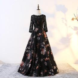 Vestido de novia elegante vestido de fiesta vestido de fiesta online-Elegantes vestidos largos de noche 2019 Moda Flores Mujer Mangas Vestido de fiesta Encaje V Volver Vestidos de boda formales