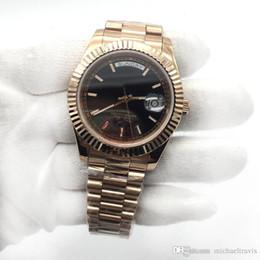 Genf uhren roségold online-Rose Gold Schokolade Day-Date Sapphire Cystal Geneva Herrenuhren Automatische mechanische Bewegung Männliche Armbanduhren