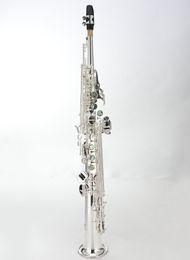 прямые медные духовые инструменты Скидка MARGEWATE Сопрано прямая труба саксофон латунь высокого качества музыкальный инструмент Красивая Посеребренная Sax Свободная перевозка груза с Case