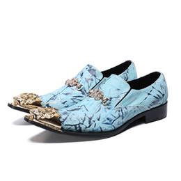 Голубые мужчины онлайн-Мужчины Платье Обувь Из Натуральной Кожи Slip On Досуг Бизнес Небесно-голубой Оксфорд Модная Обувь Для Взрослых Людей