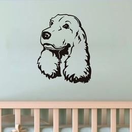 etiqueta do berçário do cão Desconto Cão de cachorrinho Bonito Adesivos De Parede Para Crianças Meninas Spaniel Quarto Cabeça À Prova D 'Água Oco Out Decalque Da Parede Do Berçário Decoração Acessórios