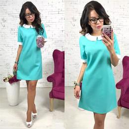 Solid Short Sleeve Peter Pan Collar Mini Dress Short Casual Straight Dresses  Ladies Fashion Party Club Dress Summer High Quality 6a899b60b9e7
