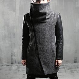 Casacos de pano on-line-M-XL Hot 2019 Inverno Homens New Cultivar Um Moralidade Moda Pano Poeira Lapels Espessamento De longo Casaco