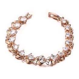 Braccialetto di cristallo delle nuove donne Braccialetto di cristallo modello in ottone oro rosa zirconia per le donne Regali di compleanno di San Valentino da