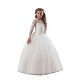 ribbons bows for skirts Coupons - Girl Dress Puff Skirt Long Sleeve Tutu Lace Mesh Princess Imported Satin Polyester Suitable For All Seasons Elegant Evening Formal Dress 23