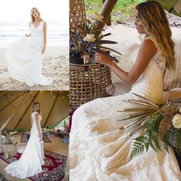 2019 цветочный сад готический Элегантные богемные свадебные платья с V-образным вырезом 2019 с открытой спиной и кружевными рукавами Свадебное платье Beach Boho Vestidos de Novia AL2158