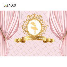 2019 fotografia sfondo tenda Princess Fondali Pink Curtain Birthday Party Gold Crown Ballet Girl Portrait Fotografia Sfondi Photocall Photo Studio sconti fotografia sfondo tenda