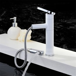 ceramic painting designs Promo Codes - Brass polished and white color paint fashion design bathroom basin mixer faucet pull out & rotation water mixer