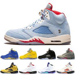 zapatos de gamuza alta Rebajas Alta calidad 5 5s zapatos de hombre paris saint-germain Suede Red Seme Negro cemento blanco Metálico fresco Baloncesto zapatos zapatillas de deporte zapatillas de deporte