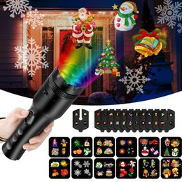 Taschenlampe rgb online-Weihnachten Projektor Lichter Projektion Taschenlampe mit 12 veränderbaren Muster Dias Handheld Projektor Weihnachten Halloween Ostern Festival Decor