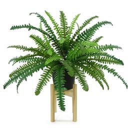 piante grandi foglie Sconti Wedding Decoration impianto di simulazione Big Persico Erba foglie di felce Bundle piante finte giardino domestiche Raccordi a muro