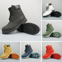 green flat boots Promo Codes - HOTSALE Timberland Boots Mens Women Designer Military Boot Blue Chestnut Triple Black White Camo Hiking Boots 36-45