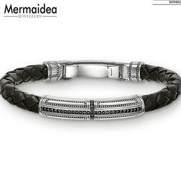 Ткать обертывание кожаный браслет онлайн-Woven Leather Wrap Bracelets Hero Cross Spring Crap 2019 New Silver Fashion Jewelry Punk Gift for Men Boy Women Girls
