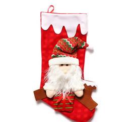 Calcetines de navidad alces rojos online-Navidad nuevos calcetines rojos adornos para árboles de navidad regalo para niños calcetines viejo hombre alce muñeco de nieve santo decorativo