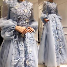 Robes de soirée musulmanes arabie saoudite en Ligne-Arabie Saoudite bleu 3D floral robe de soirée musulmane avec poches manches longues Robe dubai caftan longue 2019 élégantes robes de bal