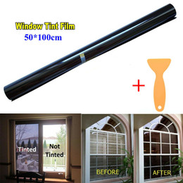 car window shading Promo Codes - 50cm x 1M Black Glass Window Tint Shade Film VLT 15%-50% Auto Car House Roll New