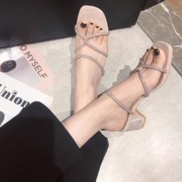Crystal2019 Pantofola da donna Scarpe col tacco alto fredde con incrocio una parola portare altri sandali fatati marea da