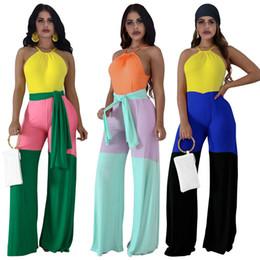 Patchwork-Frauen-Overalls Sleeveless Halter-Spielanzug-Art- und Weiseweite Bein-Hosen-Overall Einteiliger Bodysuit mit Gürtel Weiblicher Entwerfer-Spielanzug von Fabrikanten