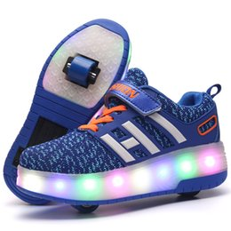 Zapatos de rodillo online-Heelys LED Flashing Roller Skate Shoes niños Invisible Doble Ruedas Boy Girl Roller Skate Luminoso Zapatos Zapatillas de deporte botas