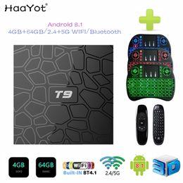 Caja de bluetooth online-2019 El más nuevo 4GB 64GB Android 8.1 TV Box T9 RK3328 Quad Core 4G / 64G USB 3.0 Smart 4K Set Top Box opcional 2.4G / 5G Dual WIFI Bluetooth 4.1
