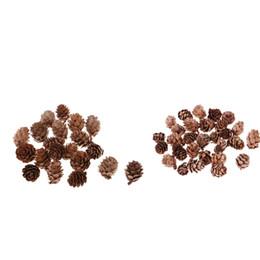 2019 ornamenti di cono di pino 40 Pezzi reale naturale secca Pigne Pigna per Ciotola Decorazioni di Natale ornamenti decorazione del partito 0.98 x 1.18 pollici ornamenti di cono di pino economici
