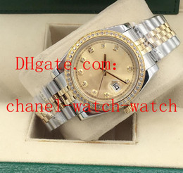 Wholesale 36mm Datejust Unisex Diamond Dial Yellow Gold And Steel Automatic Mechanical Movement Mens Watch Men s Womens Wristwatches Jubilee Bracelet