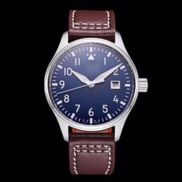 2019 mens piloto relógio automático Top homens relógio do piloto MARK XVIII IW327004 40mm azul Dial pulseira de couro marrom Mens relógios mecânicos automáticos mens piloto relógio automático barato