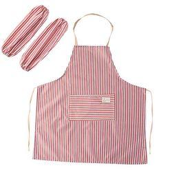 grembiuli da cucina impermeabile set di uomini adulti della famiglia donna regolabile a strisce grembiuli da cucina manicotto protettivo set cucina grembiuli da cucina da