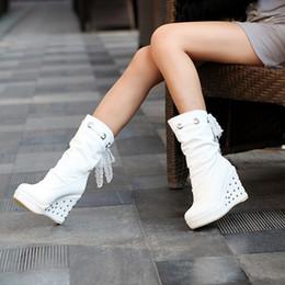 tacco piattaforma nera Sconti 2019 scarpe primavera autunno Diamante tacco dello stivale caduta tacchi zeppe Large Size 9 piattaforma Black Women Boots Bianco