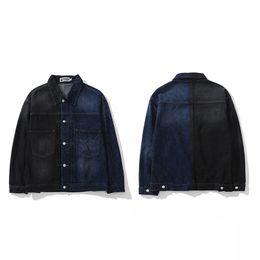 Lunga giacca di denim nera online-Bape Mens di alta qualità del rivestimento del tasto Giacca di jeans nuovi del manicotto di modo donne degli uomini lunghi BAPE del progettista del Mens Outerwear Nero Blu Stitching