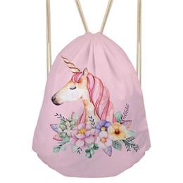 2019 einhorn gold THIKIN Cartoon Unicorn Printing Kordelzug Kids Satchel Softback Small Damen Rucksack für Mädchen Cute Daypack Carry on Bag günstig einhorn gold