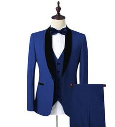 Сделанные на заказ синие мужские свадебные костюмы Однобортный 3 шт (куртка + жилет + брюки) отворот с отложным воротником для мужчин Slim Fit Свадебные костюмы для выпускного жениха supplier bespoke jacket от Поставщики куртка на заказ