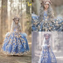 filles de plumes s'habillent formelle Promotion 2019 dernières robes de fille de fleur une ligne bijou cou dentelle 3D Floral Appliqued plumes filles robe de fête d'anniversaire robes de soirée d'enfants robe formelle
