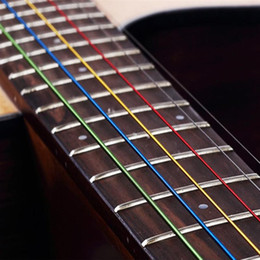 cuerdas de guitarra acústica Rebajas 6 Unids / set Colorida Cuerda de Guitarra A Prueba de Óxido Cuerda Acústica Útil para Intérpretes Guitarrista Principiantes Diarios Accesorios de Guitarra