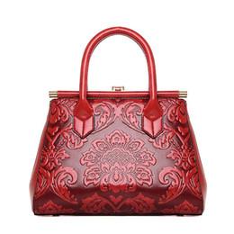 Bolsos de la marca china online-Marca de calidad de cuero en relieve de cuero bolso de las mujeres de moda bolso de hombro bolsa de estilo chino de la vendimia bolso de las señoras sac a principal