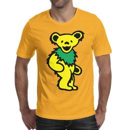 2019 sottogonne gialle Mens design stampa grato orso morto giallo giallo maglietta stampa maglietta cool designer banda camicie maglietta hip hop sport neon b sottogonne gialle economici