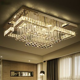 Lampadari quadrati online-Lampada a sospensione Modern Luxury Square Lustre K9 Lampadario Led Crystal Telecomando Dimmerabile Luminaria Lampadario a soffitto Lamparas da salotto