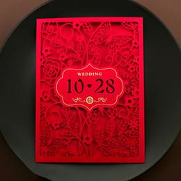 2019 animação de desenho animado de casamento 20pcs Red China Cartão do convite do casamento projetos personalizados Borboleta Flor Laser Cut Convites de casamento personalizado Impressão