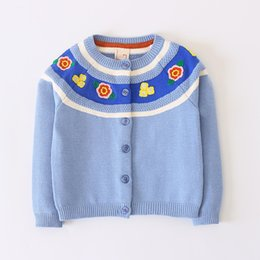 Canada 2018 Nouvel Automne Hiver Bébé Fille Pull Casual Style Fille Coton Cardigan À Manches Longues O-cou Fleur Broderie Enfants Pull cheap flower embroidery for girls Offre