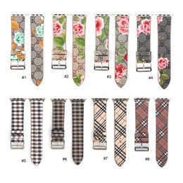 2019 desenhos de pulseira de relógio de maçã Laço de couro para iwatch 4 3 2 1 Strap para a Apple Watch Banda 38mm 42mm 40mm 44mm Flower Design desenhos de pulseira de relógio de maçã barato