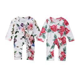 linda niña rosas Rebajas Bebé niña niña flor volantes mameluco pijamas mono manga larga floral cómodo rosas mono lindo bebé niño ropa