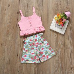 Ins flamingo Girls Наряды сладкая детская летняя одежда для девочек костюмы майка + шорты Детские комплекты детская дизайнерская одежда для девочек комплекты Детский костюм A5042 от