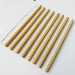 Argentina Amarillo paja de bambú conjunto reutilizable 19 cm orgánico pajas de beber de bambú con un cepillo limpio para la fiesta de cumpleaños de la boda del bebé alimentación AAA1787 cheap yellow straws party Suministro