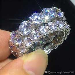 Clássico Promise anel 925 Sterling silver Redonda corte 4mm / 6mm Diamante Cz Anel De Noivado de casamento da faixa de pedra para as mulheres homens jóias de