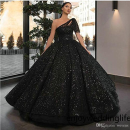 multi tier dress Coupons - Brilliant One Shoulder Ball Gown Prom Dresses Black Sequined Draped Tier Skirt Formal Dresses Custom Made Arabic Evening Gowns