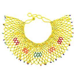 Collana di dichiarazione del tallone della resina online-Collana di dichiarazione della spalla del corpo di fascino della Boemia dell'annata Collana di collana del Collier del branello del bead della resina africana egiziana stabilito monili etnici