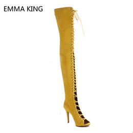 Coxa Botas Altas Peep Toe Stiletto Sexy Saltos Sobre O Joelho Botas Mulheres Lace up Zip Sapatos de Salto Alto Amarelo Stretch Shoes de