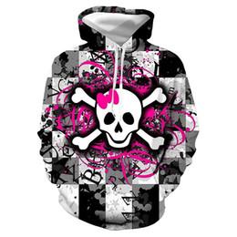 Sudadera con capucha de la camiseta del cráneo 3d del mens online-Cráneo de Halloween Sudaderas con capucha para hombre Diseñador Manga larga suelta Con capucha Contraste Color Parejas Sudaderas Moda 3D Impreso Ropa para hombre