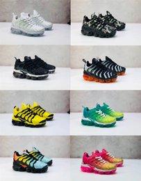 Недорогая обувь для девочек онлайн-2019 дешевые новые кроссовки Tn Plus для мальчиков девочек кроссовки Tn черный красный белый открытый малыша обувь 24-35